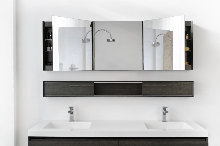 m mirrored cabinet surface